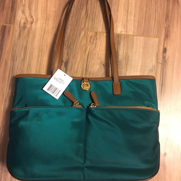 686ea93713eff5 Michael Kors Bags | Kempton Nylon Large Pocket Tote Teal | Poshmark